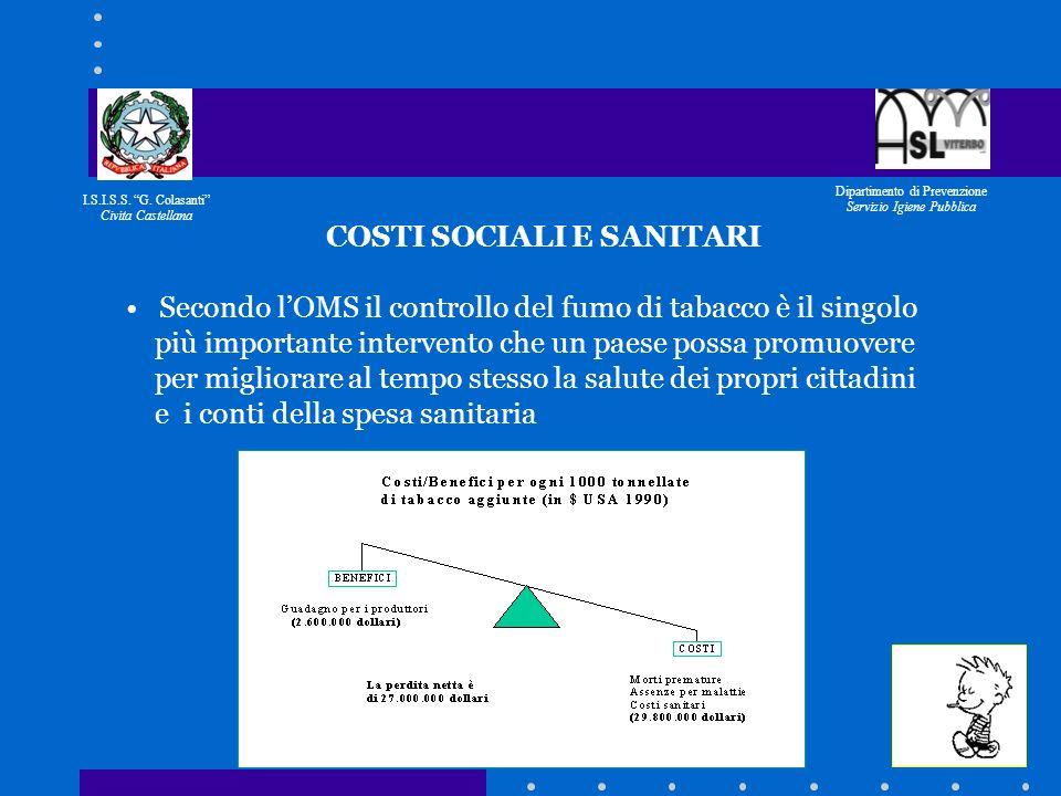 I.S.I.S.S. G. Colasanti Civita Castellana Dipartimento di Prevenzione Servizio Igiene Pubblica IL PROGETTO NASCE SU SOLLECITAZIONE DEL DIRIGENTE SCOLA