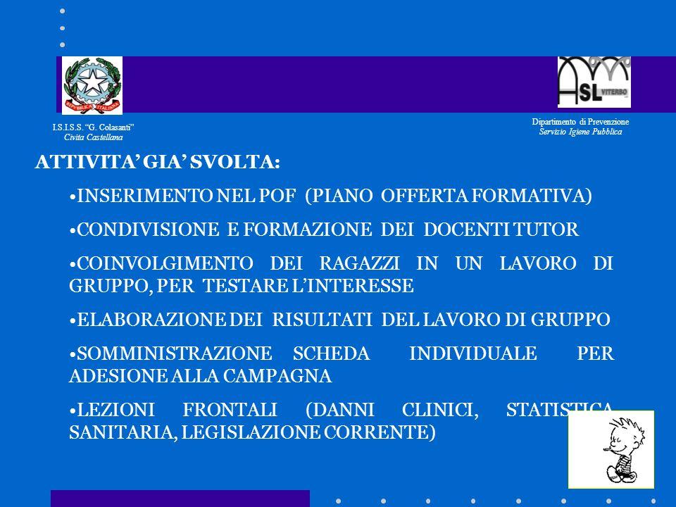 I.S.I.S.S. G. Colasanti Civita Castellana Dipartimento di Prevenzione Servizio Igiene Pubblica POPOLAZIONE TARGET: STUDENTI DEL I° E II° ANNO DELLE SC