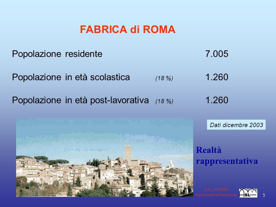 FABRICA di ROMA Popolazione residente 7.005 Popolazione in età scolastica (18 %) 1.260 Popolazione in età post-lavorativa (18 %) 1.260 Dati dicembre 2003 Realtà rappresentativa 5 A.S.L.