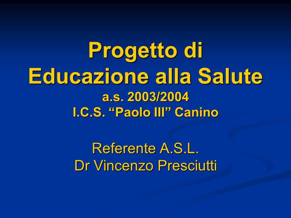 Progetto di Educazione alla Salute a.s.2003/2004 I.C.S.