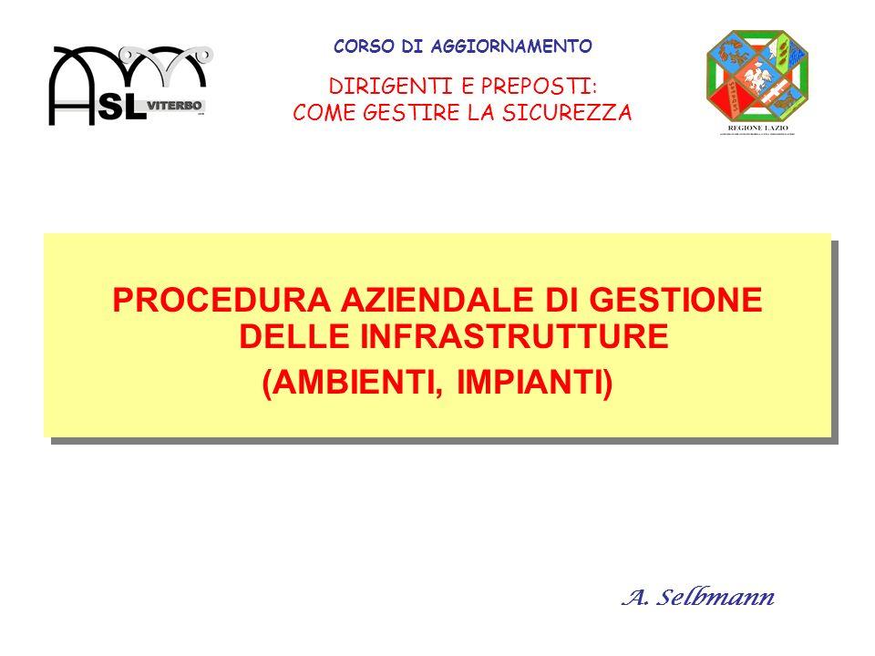 CORSO DI AGGIORNAMENTO DIRIGENTI E PREPOSTI: COME GESTIRE LA SICUREZZA PROCEDURA AZIENDALE DI GESTIONE DELLE INFRASTRUTTURE (AMBIENTI, IMPIANTI) PROCEDURA AZIENDALE DI GESTIONE DELLE INFRASTRUTTURE (AMBIENTI, IMPIANTI) A.