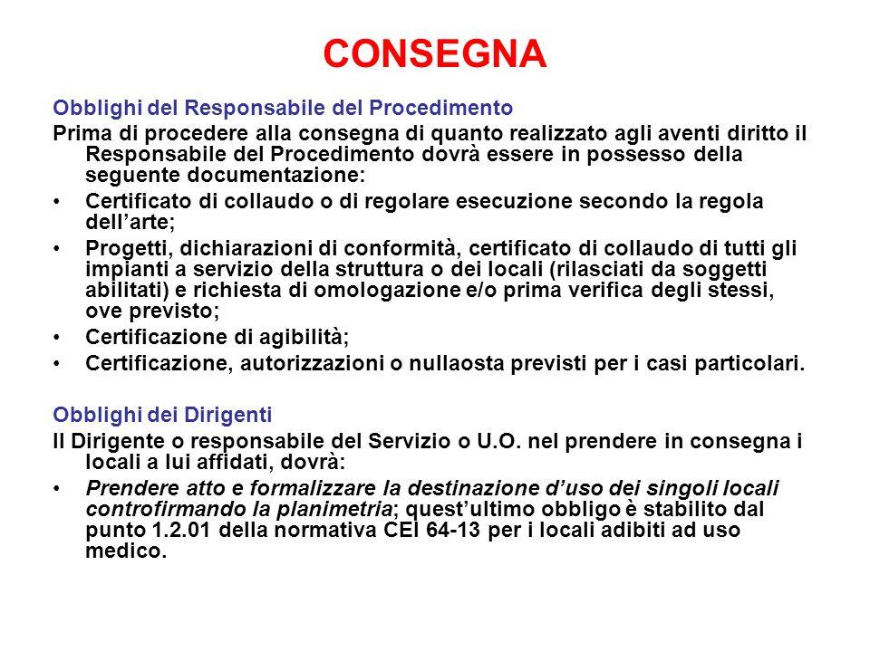 CONSEGNA Obblighi del Responsabile del Procedimento Prima di procedere alla consegna di quanto realizzato agli aventi diritto il Responsabile del Proc
