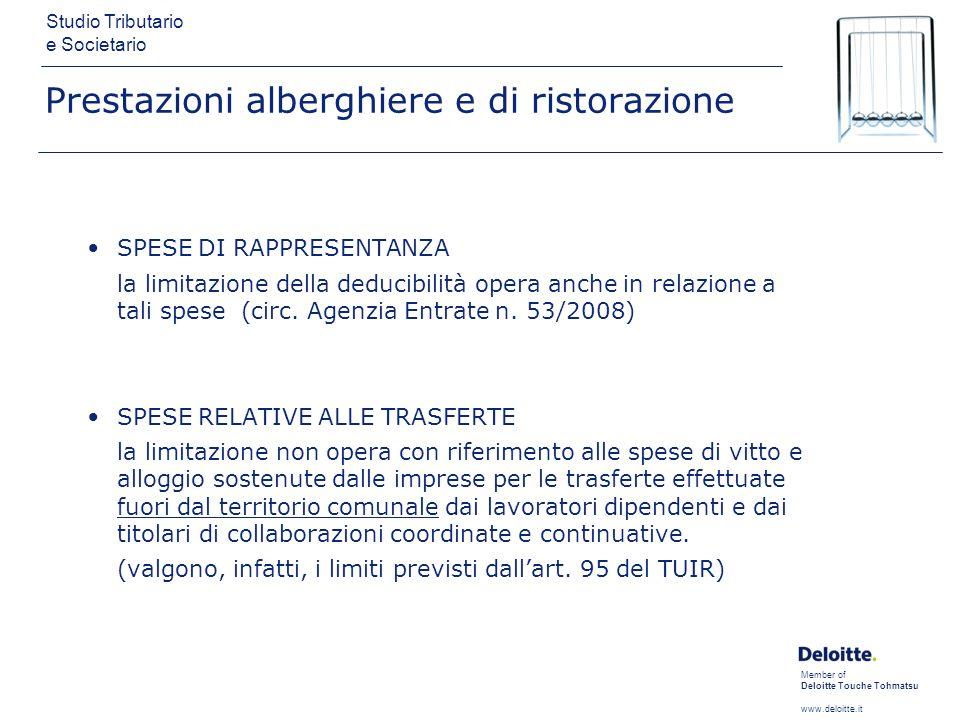 Member of Deloitte Touche Tohmatsu www.deloitte.it Studio Tributario e Societario Prestazioni alberghiere e di ristorazione SPESE DI RAPPRESENTANZA la