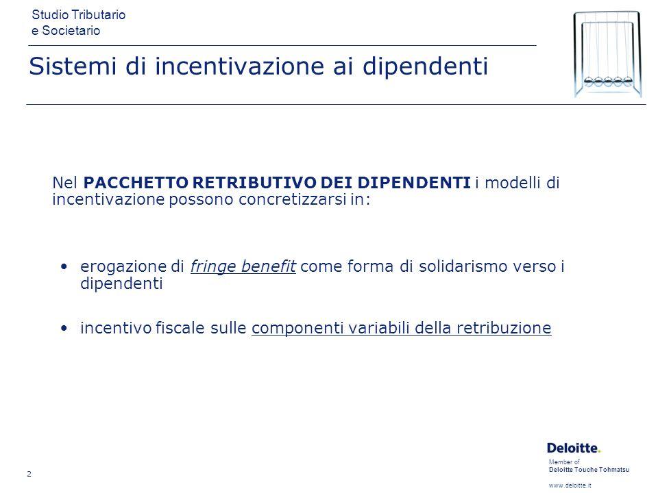 Member of Deloitte Touche Tohmatsu www.deloitte.it Studio Tributario e Societario 3 Sistemi di incentivazione ai dipendenti I PACCHETTI DI INCENTIVAZIONE possono essere costruiti utilizzando: forme retributive partecipative ai risultati aziendali forme retributive partecipative al capitale