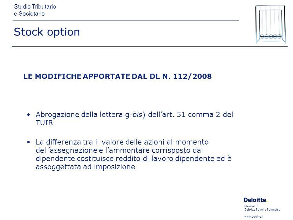 Member of Deloitte Touche Tohmatsu www.deloitte.it Studio Tributario e Societario Stock option LE MODIFICHE APPORTATE DAL DL N. 112/2008 Abrogazione d
