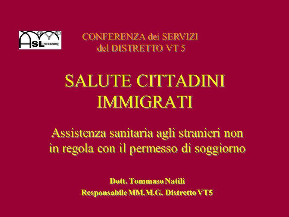 Assistenza sanitaria agli stranieri non in regola con il permesso di soggiorno Dott. Tommaso Natili Responsabile MM.M.G. Distretto VT5 Assistenza sani