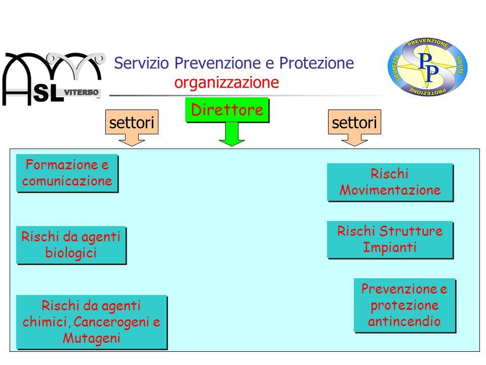 Il Servizio Prevenzione e Protezione organizzazione Direttore Formazione e comunicazione Rischi da agenti biologici Prevenzione e protezione antincend