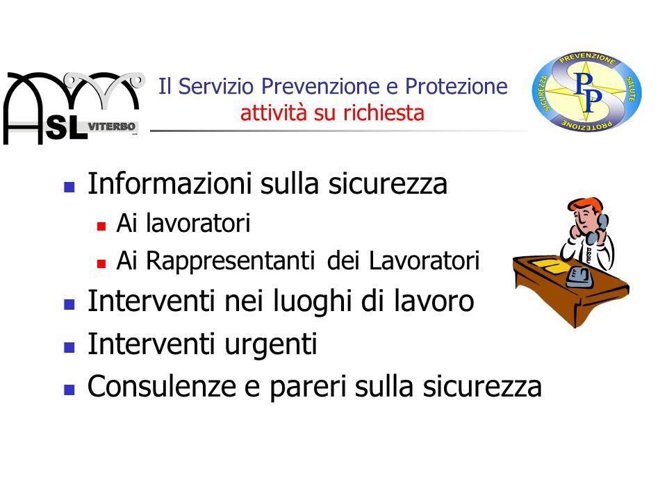 Informazioni sulla sicurezza Ai lavoratori Ai Rappresentanti dei Lavoratori Interventi nei luoghi di lavoro Interventi urgenti Consulenze e pareri sul