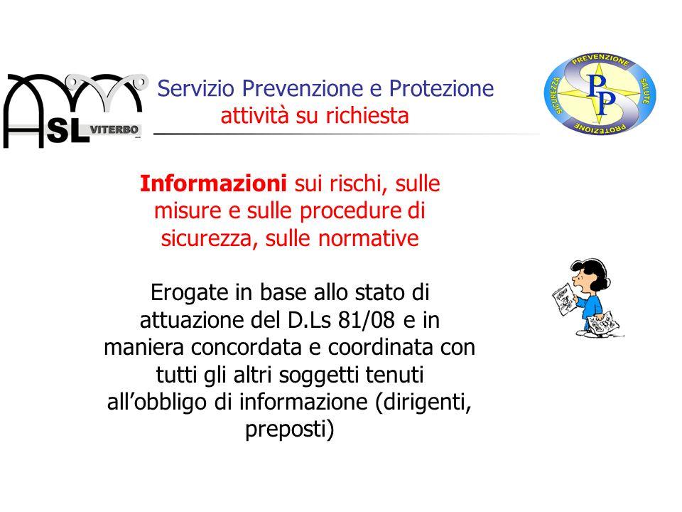 Informazioni sui rischi, sulle misure e sulle procedure di sicurezza, sulle normative Erogate in base allo stato di attuazione del D.Ls 81/08 e in man