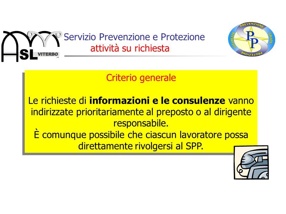 Il Servizio Prevenzione e Protezione attività su richiesta Criterio generale Le richieste di informazioni e le consulenze vanno indirizzate prioritari