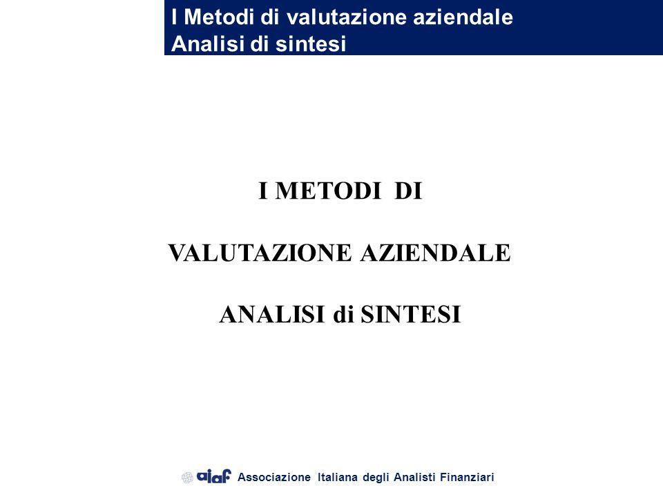Associazione Italiana degli Analisti Finanziari Il Metodo dei Moltiplicatori di Mercato Il processo valutativo : applicazione Esempio: EPS t = 0.367 D