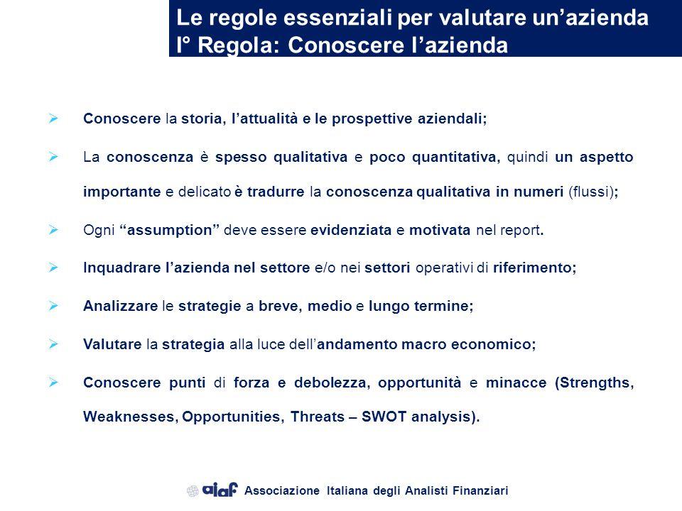 Associazione Italiana degli Analisti Finanziari Le regole essenziali per valutare unazienda La valutazione dazienda, contenuta nel report, deve dimost