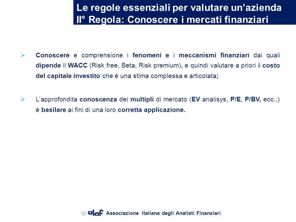 Associazione Italiana degli Analisti Finanziari Le regole essenziali per valutare unazienda I° Regola: Conoscere lazienda Conoscere la storia, lattual