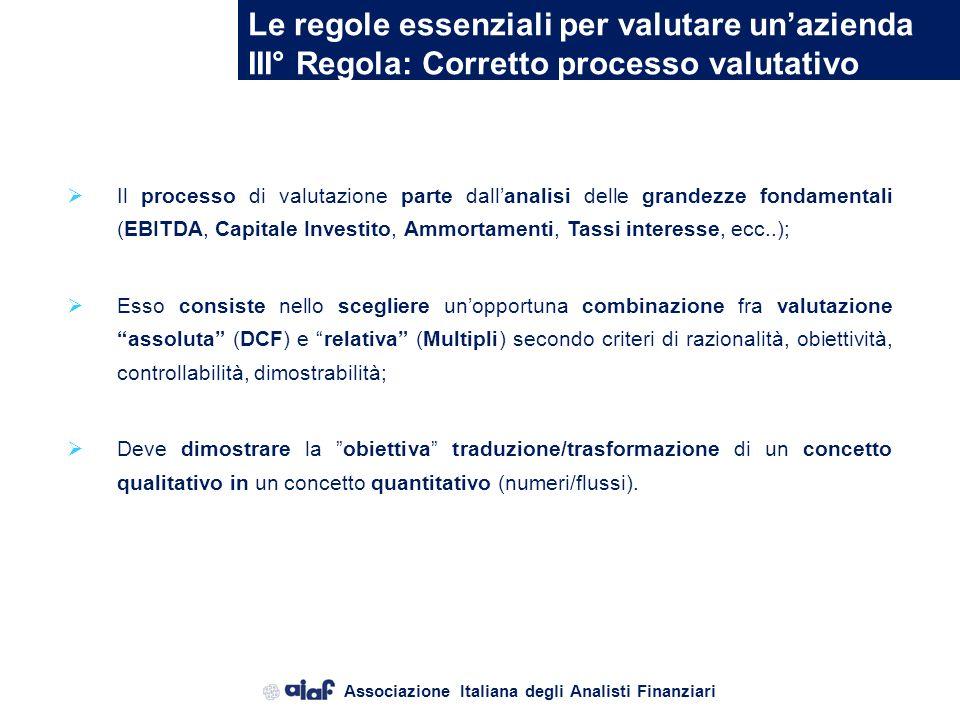 Associazione Italiana degli Analisti Finanziari Le regole essenziali per valutare unazienda II° Regola: Conoscere i mercati finanziari Conoscere e com