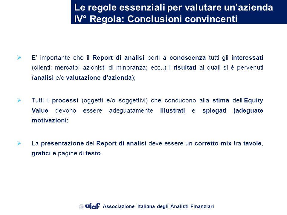 Associazione Italiana degli Analisti Finanziari Le regole essenziali per valutare unazienda III° Regola: Corretto processo valutativo Il processo di v