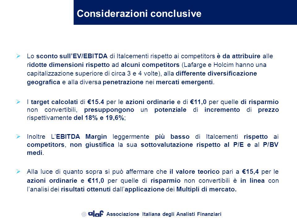 Associazione Italiana degli Analisti Finanziari Il metodo dei moltiplicatori Italcementi è una società internazionale (5° produttore al mondo) e quind