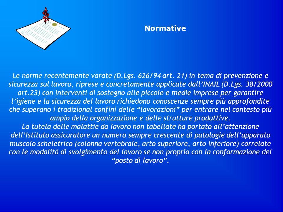 Normative Le norme recentemente varate (D.Lgs. 626/94 art. 21) in tema di prevenzione e sicurezza sul lavoro, riprese e concretamente applicate dallIN