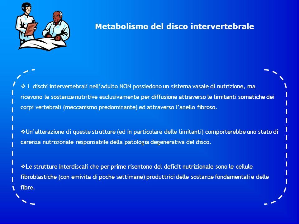 I dischi intervertebrali nelladulto NON possiedono un sistema vasale di nutrizione, ma ricevono le sostanze nutritive esclusivamente per diffusione at
