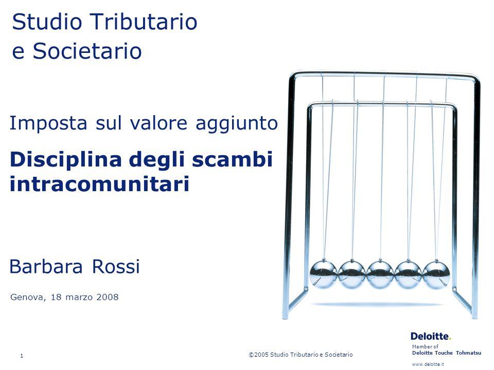 Member of Deloitte Touche Tohmatsu www.deloitte.it Studio Tributario e Societario Disciplina scambi intracomunitari 52 Operazioni a catena Movimento comunitario dei beni.