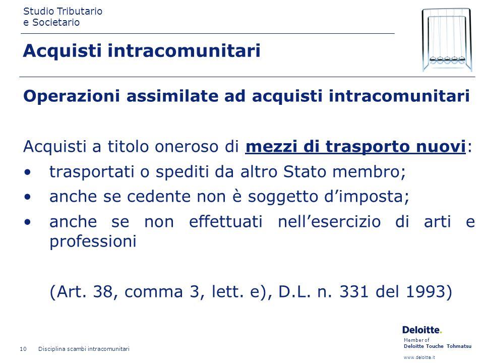 Member of Deloitte Touche Tohmatsu www.deloitte.it Studio Tributario e Societario Disciplina scambi intracomunitari 10 Acquisti intracomunitari Operaz
