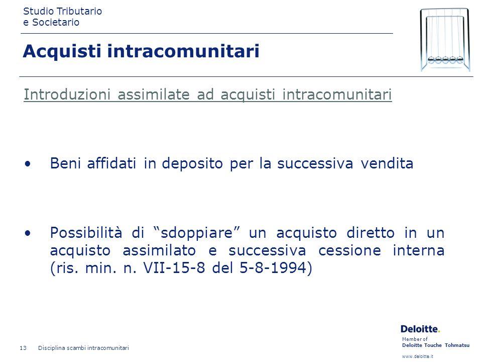 Member of Deloitte Touche Tohmatsu www.deloitte.it Studio Tributario e Societario Disciplina scambi intracomunitari 13 Introduzioni assimilate ad acqu