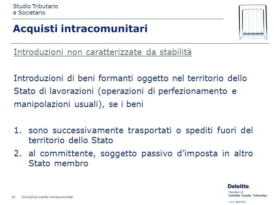 Member of Deloitte Touche Tohmatsu www.deloitte.it Studio Tributario e Societario Disciplina scambi intracomunitari 15 Introduzioni non caratterizzate
