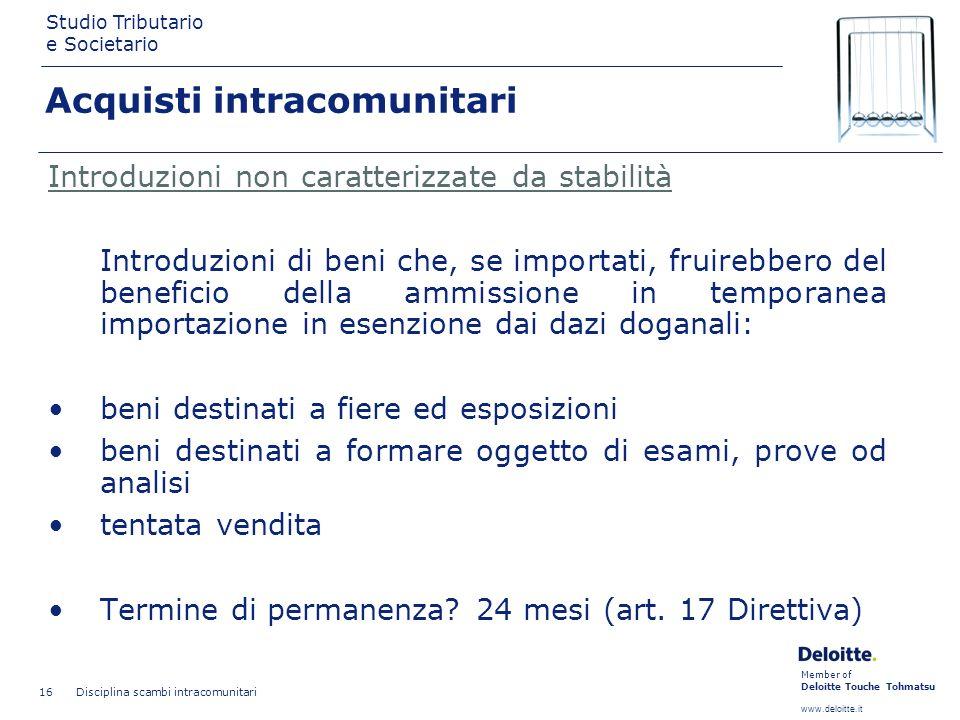 Member of Deloitte Touche Tohmatsu www.deloitte.it Studio Tributario e Societario Disciplina scambi intracomunitari 16 Introduzioni non caratterizzate