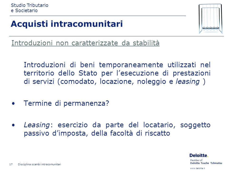 Member of Deloitte Touche Tohmatsu www.deloitte.it Studio Tributario e Societario Disciplina scambi intracomunitari 17 Introduzioni non caratterizzate