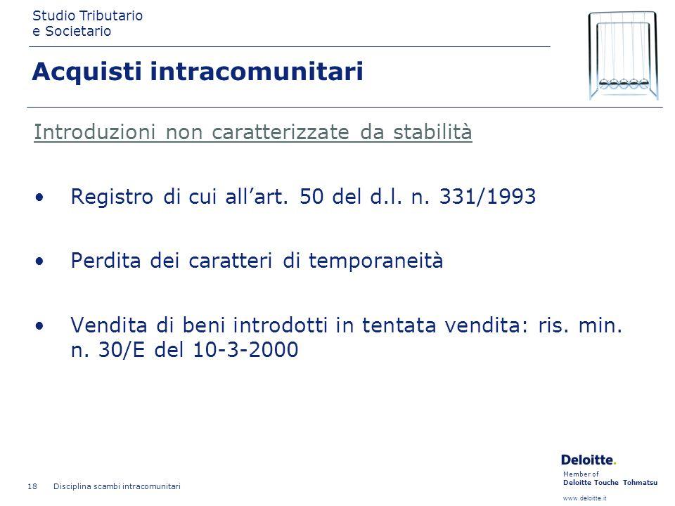 Member of Deloitte Touche Tohmatsu www.deloitte.it Studio Tributario e Societario Disciplina scambi intracomunitari 18 Introduzioni non caratterizzate