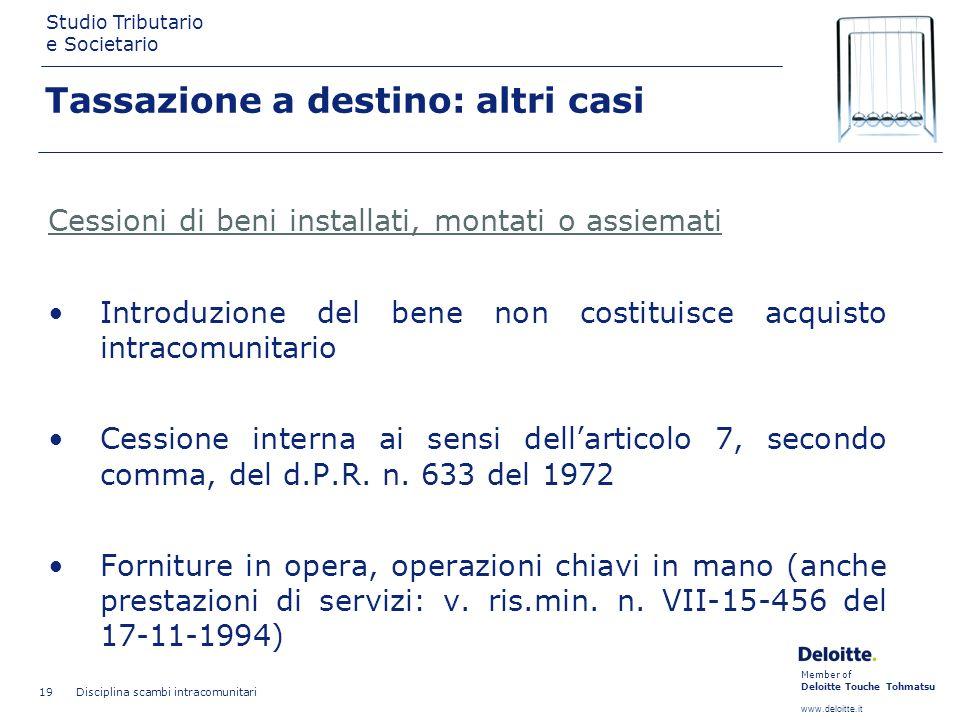 Member of Deloitte Touche Tohmatsu www.deloitte.it Studio Tributario e Societario Disciplina scambi intracomunitari 19 Tassazione a destino: altri cas