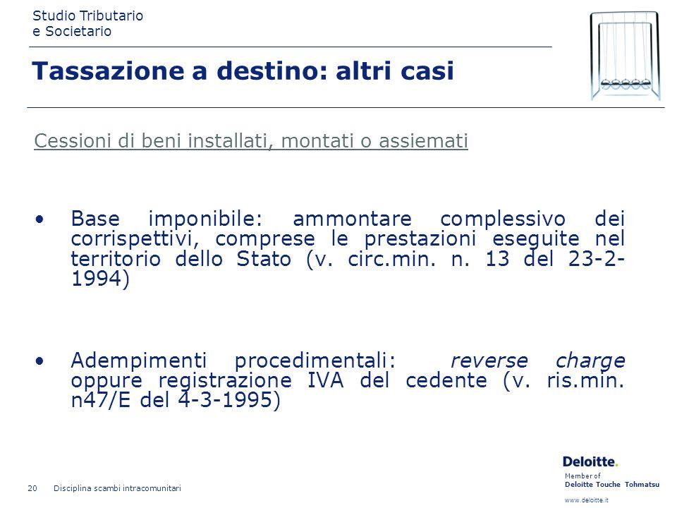 Member of Deloitte Touche Tohmatsu www.deloitte.it Studio Tributario e Societario Disciplina scambi intracomunitari 20 Tassazione a destino: altri cas