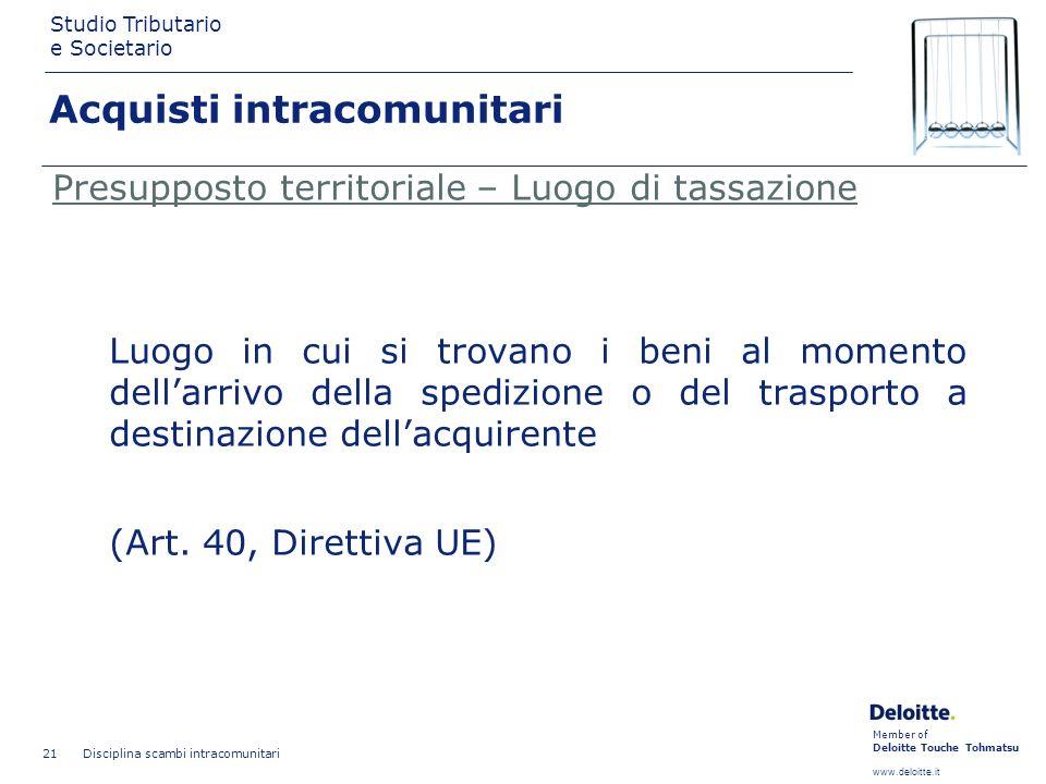 Member of Deloitte Touche Tohmatsu www.deloitte.it Studio Tributario e Societario Disciplina scambi intracomunitari 21 Presupposto territoriale – Luog