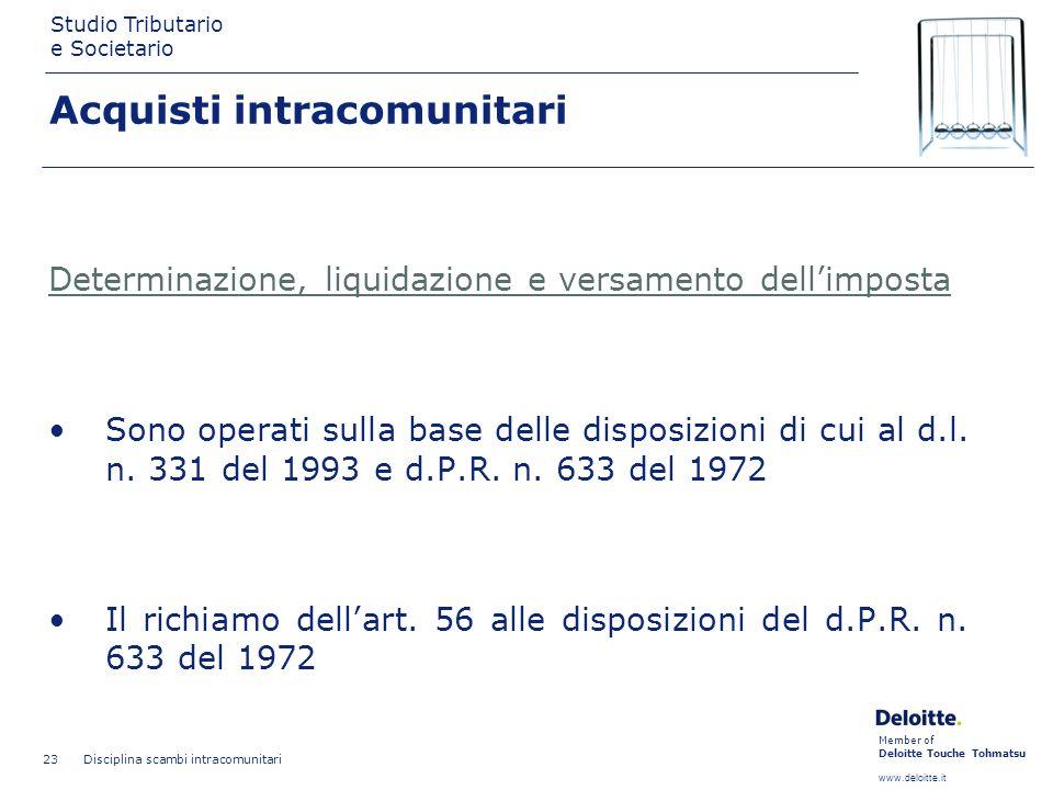 Member of Deloitte Touche Tohmatsu www.deloitte.it Studio Tributario e Societario Disciplina scambi intracomunitari 23 Determinazione, liquidazione e