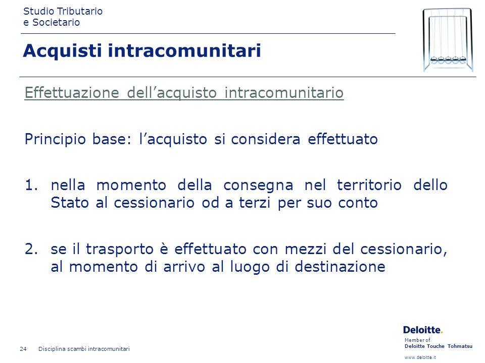 Member of Deloitte Touche Tohmatsu www.deloitte.it Studio Tributario e Societario Disciplina scambi intracomunitari 24 Effettuazione dellacquisto intr