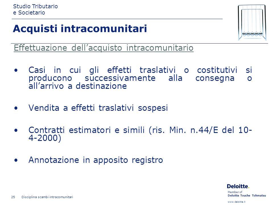 Member of Deloitte Touche Tohmatsu www.deloitte.it Studio Tributario e Societario Disciplina scambi intracomunitari 25 Effettuazione dellacquisto intr