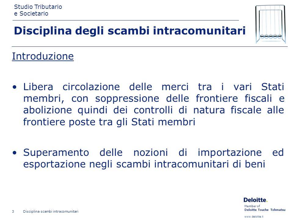 Member of Deloitte Touche Tohmatsu www.deloitte.it Studio Tributario e Societario Disciplina scambi intracomunitari 3 Disciplina degli scambi intracom