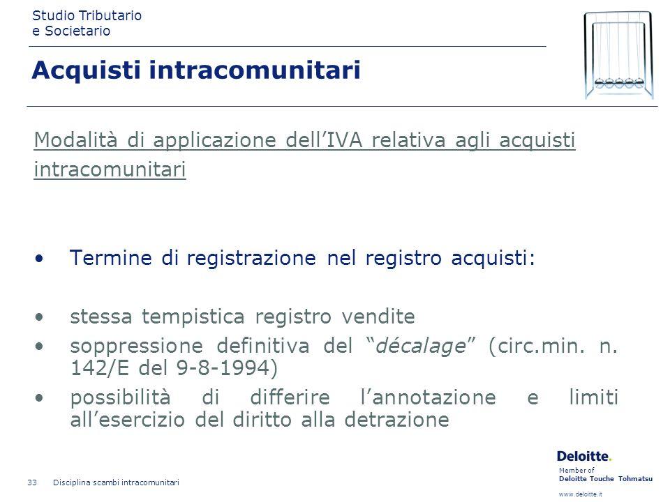 Member of Deloitte Touche Tohmatsu www.deloitte.it Studio Tributario e Societario Disciplina scambi intracomunitari 33 Modalità di applicazione dellIV