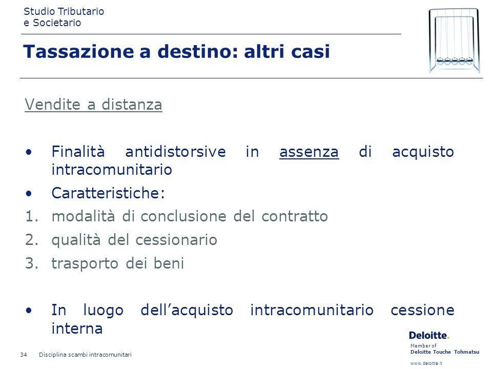 Member of Deloitte Touche Tohmatsu www.deloitte.it Studio Tributario e Societario Disciplina scambi intracomunitari 34 Tassazione a destino: altri cas