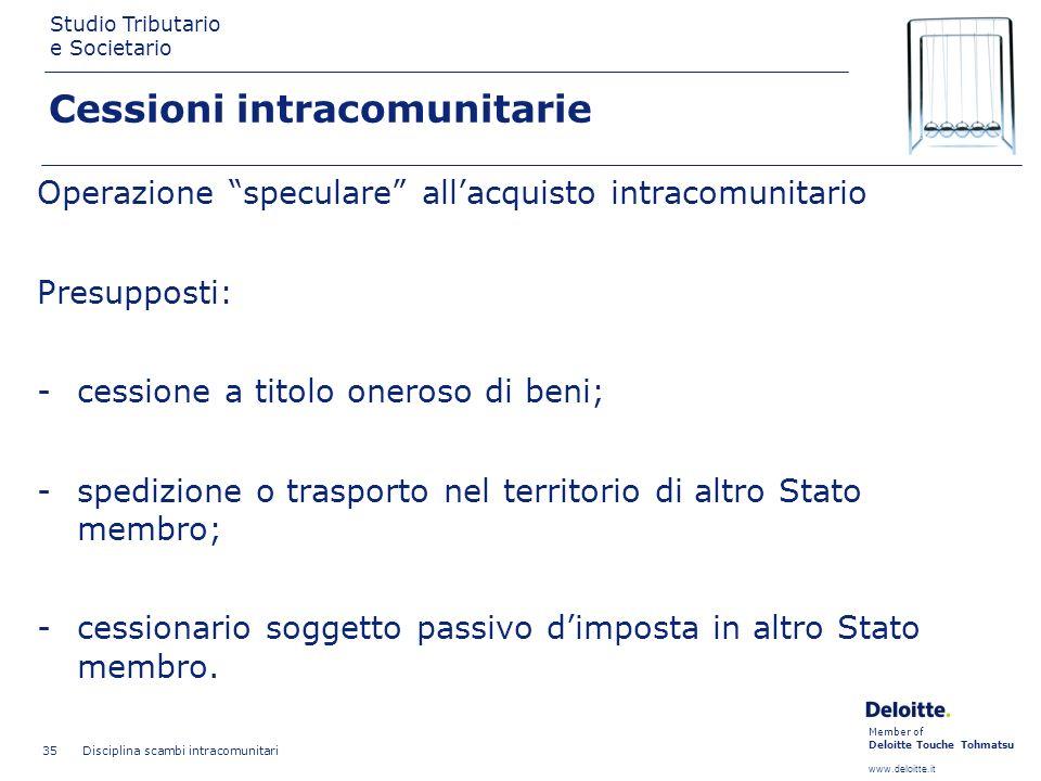 Member of Deloitte Touche Tohmatsu www.deloitte.it Studio Tributario e Societario Disciplina scambi intracomunitari 35 Cessioni intracomunitarie Opera
