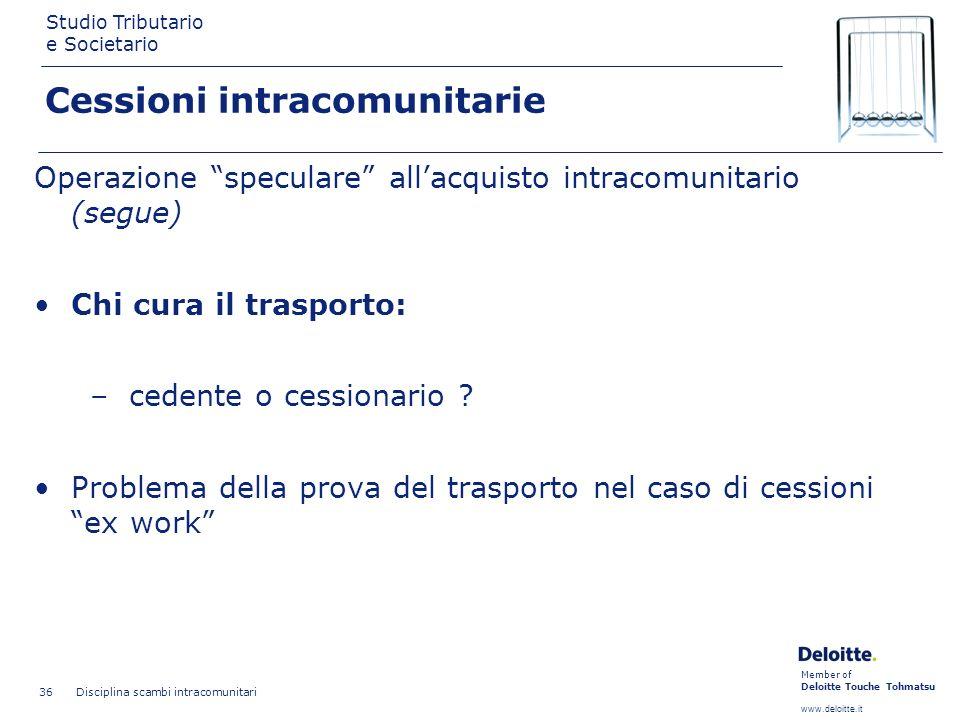 Member of Deloitte Touche Tohmatsu www.deloitte.it Studio Tributario e Societario Disciplina scambi intracomunitari 36 Cessioni intracomunitarie Opera