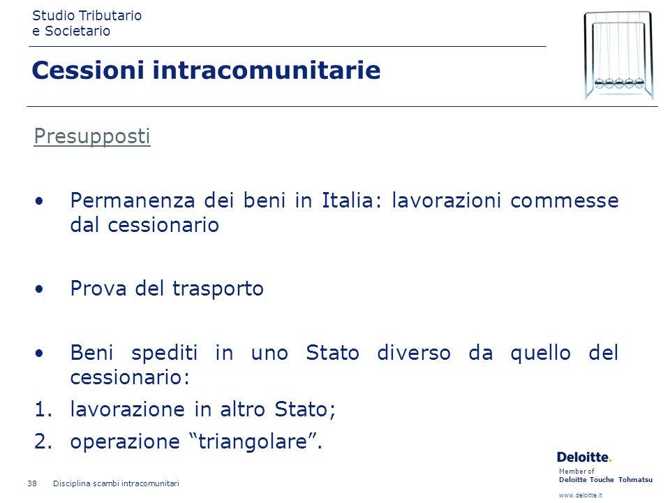 Member of Deloitte Touche Tohmatsu www.deloitte.it Studio Tributario e Societario Disciplina scambi intracomunitari 38 Cessioni intracomunitarie Presu