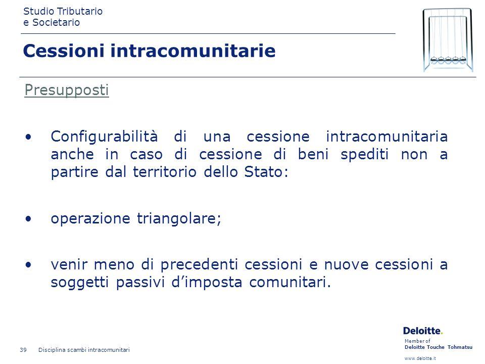 Member of Deloitte Touche Tohmatsu www.deloitte.it Studio Tributario e Societario Disciplina scambi intracomunitari 39 Cessioni intracomunitarie Presu