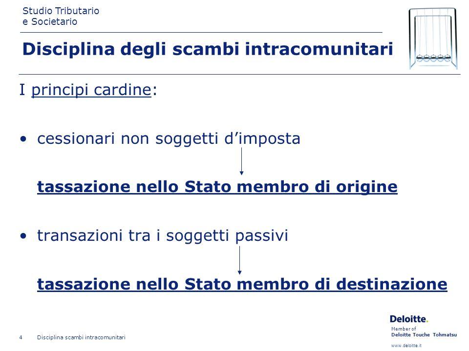 Member of Deloitte Touche Tohmatsu www.deloitte.it Studio Tributario e Societario Disciplina scambi intracomunitari 4 Disciplina degli scambi intracom