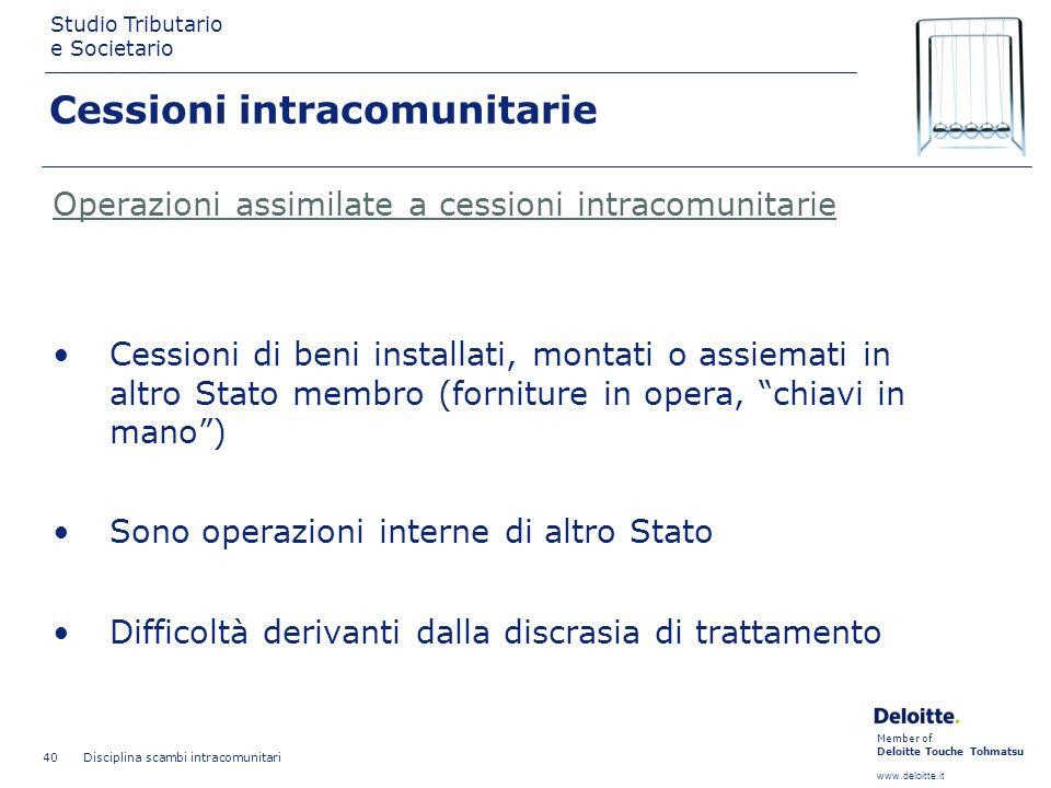 Member of Deloitte Touche Tohmatsu www.deloitte.it Studio Tributario e Societario Disciplina scambi intracomunitari 40 Cessioni intracomunitarie Opera
