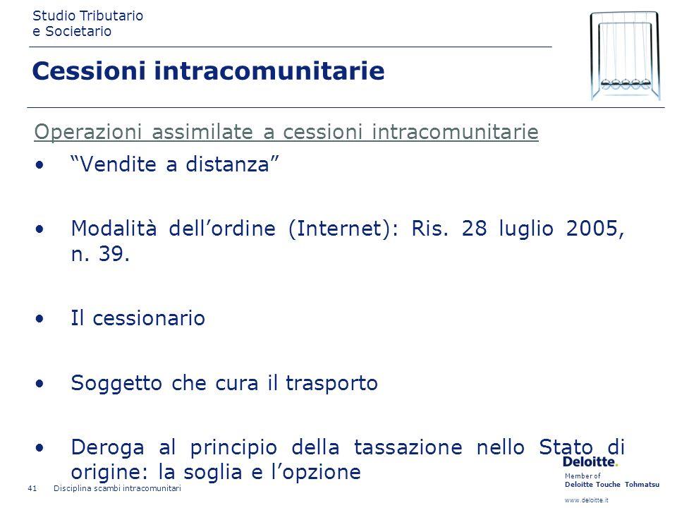 Member of Deloitte Touche Tohmatsu www.deloitte.it Studio Tributario e Societario Disciplina scambi intracomunitari 41 Cessioni intracomunitarie Opera