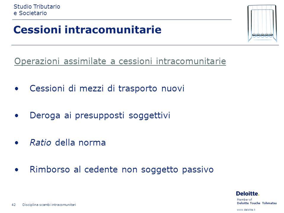 Member of Deloitte Touche Tohmatsu www.deloitte.it Studio Tributario e Societario Disciplina scambi intracomunitari 42 Cessioni intracomunitarie Opera