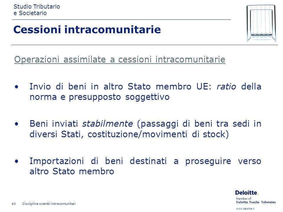 Member of Deloitte Touche Tohmatsu www.deloitte.it Studio Tributario e Societario Disciplina scambi intracomunitari 43 Cessioni intracomunitarie Opera