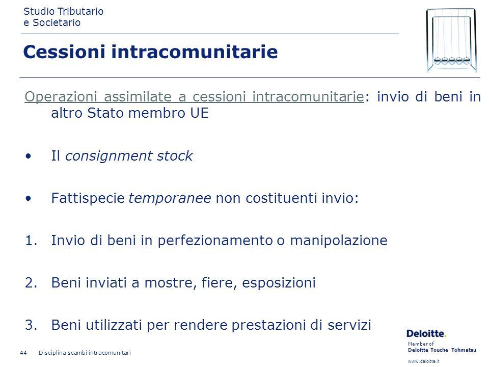 Member of Deloitte Touche Tohmatsu www.deloitte.it Studio Tributario e Societario Disciplina scambi intracomunitari 44 Cessioni intracomunitarie Opera