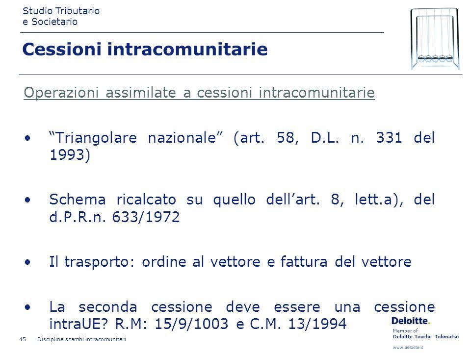 Member of Deloitte Touche Tohmatsu www.deloitte.it Studio Tributario e Societario Disciplina scambi intracomunitari 45 Cessioni intracomunitarie Opera