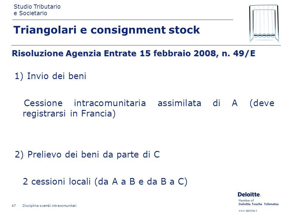 Member of Deloitte Touche Tohmatsu www.deloitte.it Studio Tributario e Societario Disciplina scambi intracomunitari 47 Triangolari e consignment stock